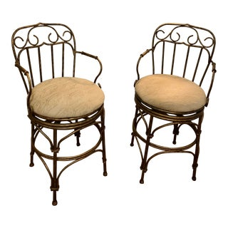 Vintage Swivel Barstools- a Pair For Sale