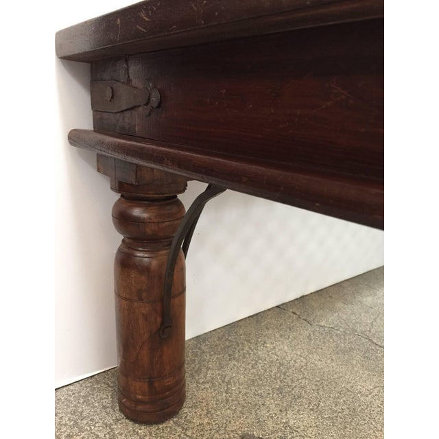 Mid 20th Century 20th Century Anglo Indian Wooden Coffee Table With Iron and Glass For Sale - Image 5 of 7