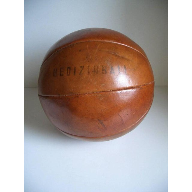 Mid-Century Modern Vintage leather medicine ball by Platura For Sale - Image 3 of 11