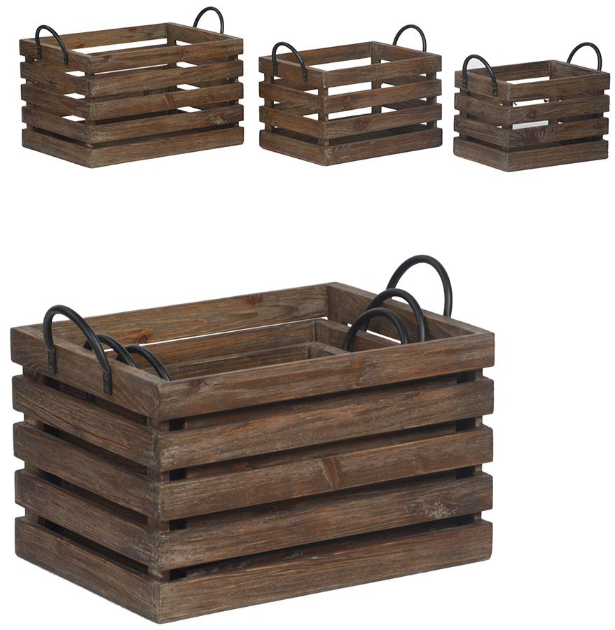 Reclaimed Fir Wood Crates, (set Of Three). Stackable Rustic Wood Crates With