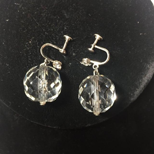 Edwardian Cut Lead Crystal Bead Choker Necklace & Sterling Earrings,1905 For Sale - Image 10 of 13