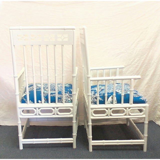 Asian Chinese Chippendale Nautical White Chairs - A Pair For Sale - Image 3 of 4