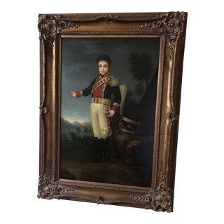 Federal Style Large Wooden Framed Oil Painting For Sale