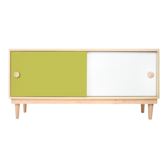Nico & Yeye Luke Modern Kids Credenza Console Solid Maple and Maple Veneers Green For Sale