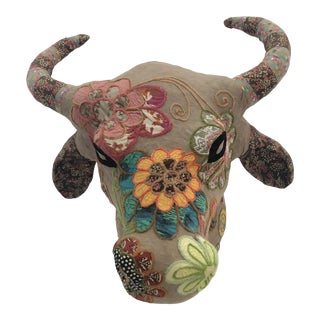 Handmade Mixed-Media Wall Sculpture of Bull's Head With Horns For Sale
