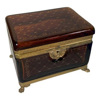 Vintage Amber Color Glass Etched Footed Jewelry Casket Box For Sale