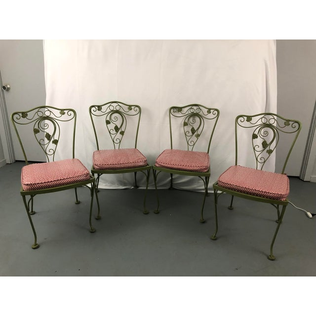 Green Vintage Woodard Style Wrought Iron Patio Chairs - Set of 6 For Sale - Image 8 of 13