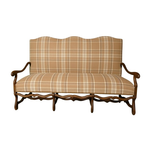 French Settee in Ralph Lauren Wool Plaid & Ostrich - Image 1 of 7