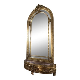 Mirror Console Louis XV Style, Antique Vintage Furniture Reproduction, Victorian French Furniture For Sale
