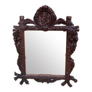 Late 19th Century French Black Forest Framed Mirror For Sale
