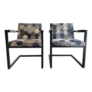 Parker & Hyde Steel Cowhide Lounge Chairs - A Pair