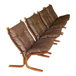1970s Vintage Westnofa Norwegian Brown Leather Lounge Chairs - Set of 4 For Sale