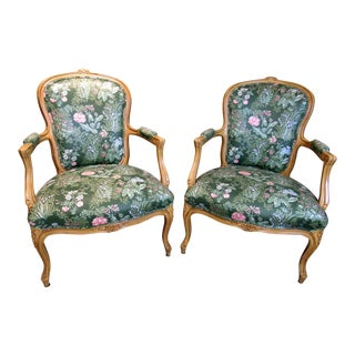 1980s French Style Floral Chairs - a Pair For Sale