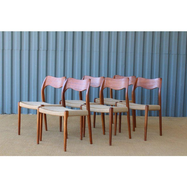 Teak Set of Six Dining Chairs by Niels Moller, Denmark, 1960s For Sale - Image 7 of 13