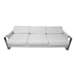 Milo Baughman Chrome, Vinyl and Rosewood Sofa, 1960s, Usa For Sale