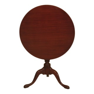 1960s Queen Anne Biggs Large Round Mahogany Tilt Top Table For Sale