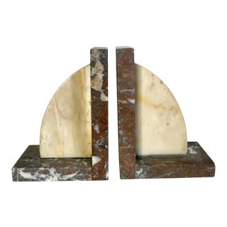 Vintage Mid Century Modern Italian Marble and Alabaster Bookends For Sale