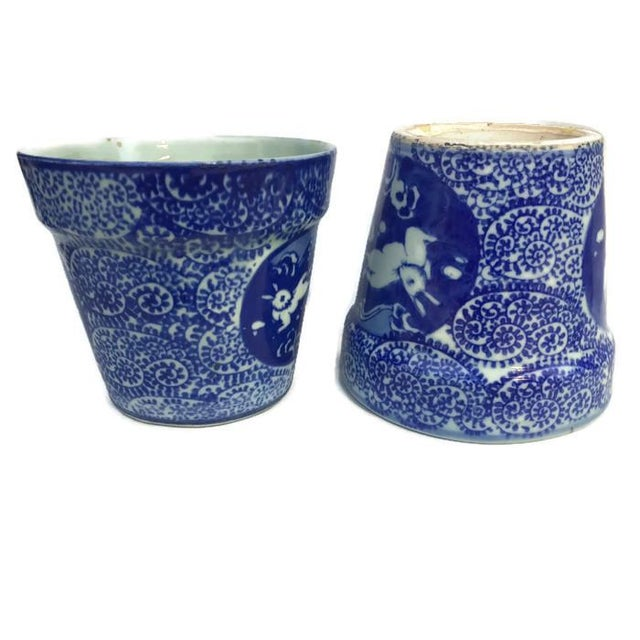 Vintage Cobalt Blue Porcelain Chinoiserie Planters - A Pair For Sale - Image 5 of 7