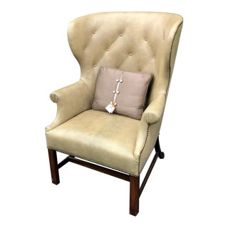 Antique Georgian Wingback Arm Chair W Olive Green Shagreen Leather For Sale