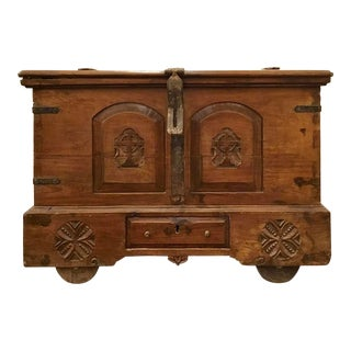 Antique English Carved Oak Trunk For Sale