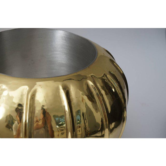 Contemporary Melon-Form Brass and Silver Plate Ice Bucket For Sale - Image 3 of 8
