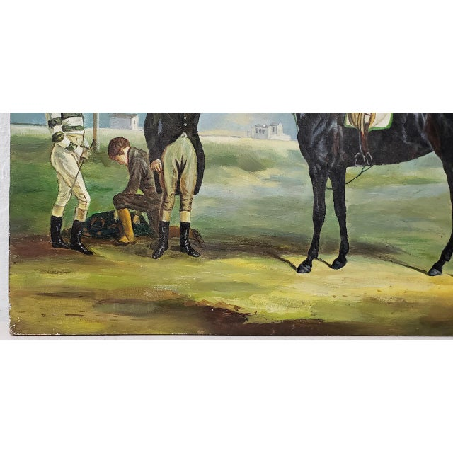 """Early 20th Century """"Horse and Rider"""" Original Oil Painting For Sale - Image 4 of 8"""
