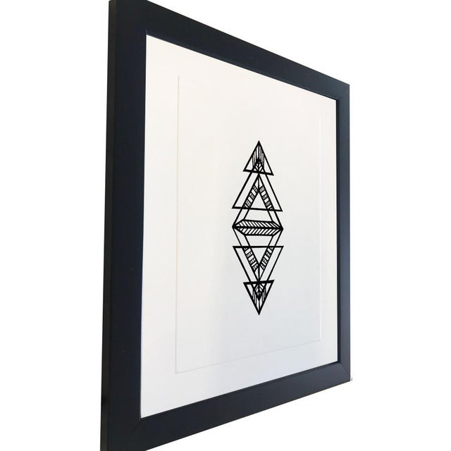 """This 5""""x7""""original geometric Ink drawing, was made in 2019, using archival inks. It is framed in a basic 8""""x10"""" frame,..."""