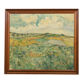 1937 Danish Expressionist Oil Painting of Fields by Knud Nilsen