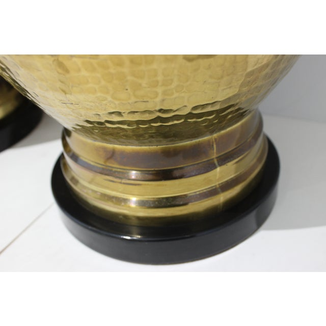 Metal Mid-Century Table Lamps Made From Artisan Hammered Brass Vases - a Pair For Sale - Image 7 of 13