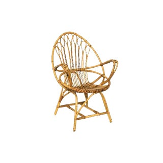 Vintage Rattan and Bamboo Armchair, France C. 1960's For Sale
