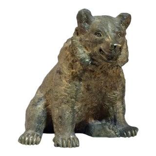 Vintage Bronze Bear Sculpture For Sale