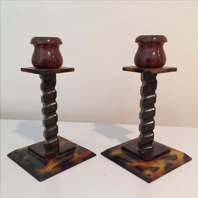 Tortoise Shell Candlesticks- a Pair - Image 4 of 6