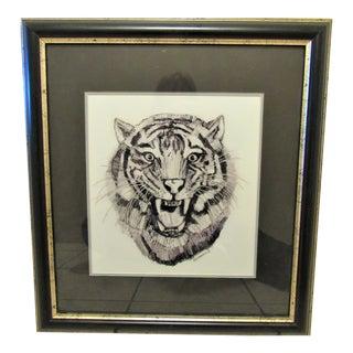 "Signed Ray Mangin Original ""Tiger"" Watercolor Artwork For Sale"