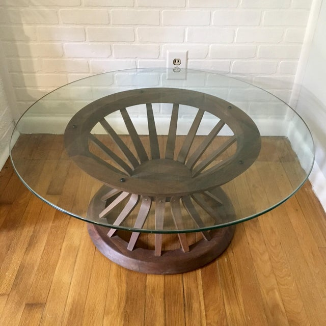Beautiful mid-century glass top coffee table in the style of Edward Wormley for Dunbar. In a modern wheat sheaf design....