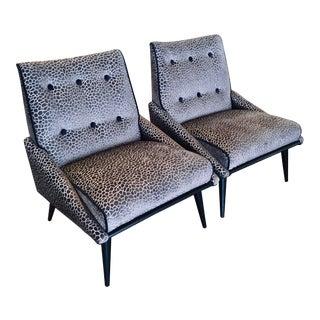 Mid Century Velvet Slipper Chairs - a Pair For Sale
