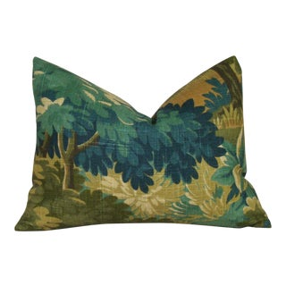 Verdure Print Linen Lumbar Pillow Cover For Sale