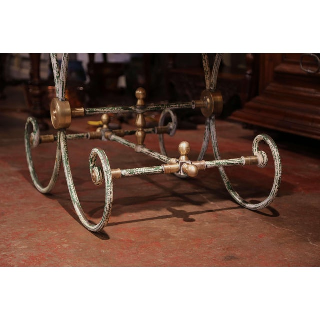 Painted French Iron Butcher or Pastry Table With Marble Top and Brass Finials For Sale - Image 11 of 12