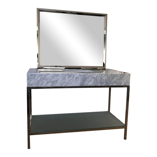 Mid-Century Modern Marble Bathroom Vanity with Chrome Mirror For Sale