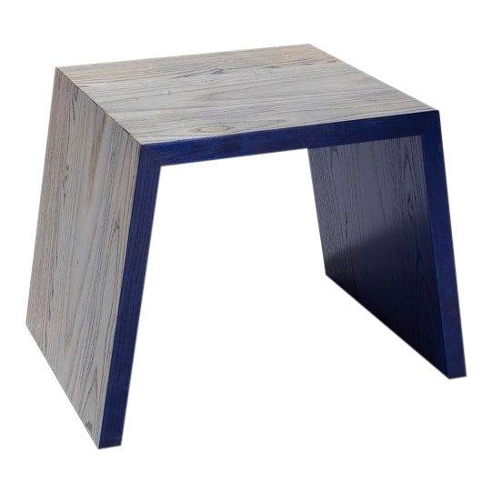 Blue Hand Dyed Ash Stool or Side Table by DuBois Collection For Sale