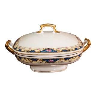 Antique 1920s Gilt Porcelain Covered Serving Dish For Sale