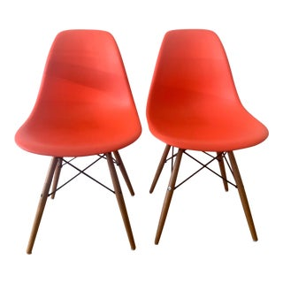 Eames Molded Plastic Side Chairs - A Pair For Sale