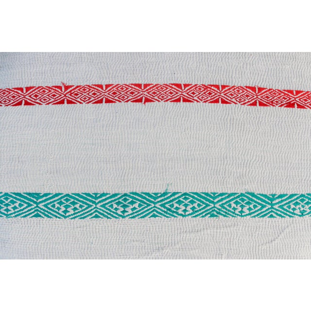 Madhuri Carved Chakki Kantha Ottoman With Kantha Fabric Uphosltery For Sale In Los Angeles - Image 6 of 12