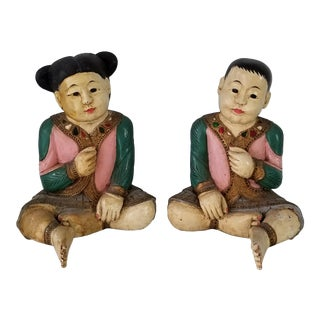 Life Size Vintage Chinese Girl and Boy Hand Carved Wood Sculptures a Pair . For Sale