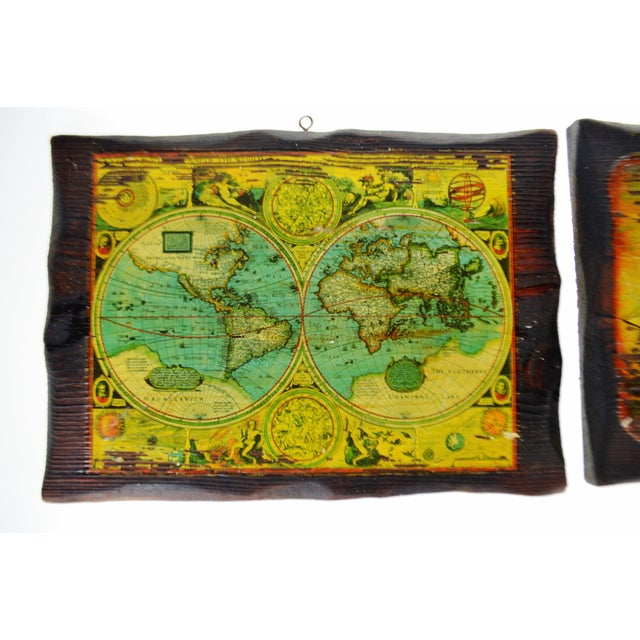 "Vintage Carved Wood Decoupage Wall Art Plaques - Group of 8 Approximate Dimensions: 1 - Map - 13.25"" wide x 9.5"" high 1 -..."