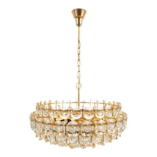 Exceptional Large Gilt Brass and Glass Chandelier Lamp, Palwa circa 1960