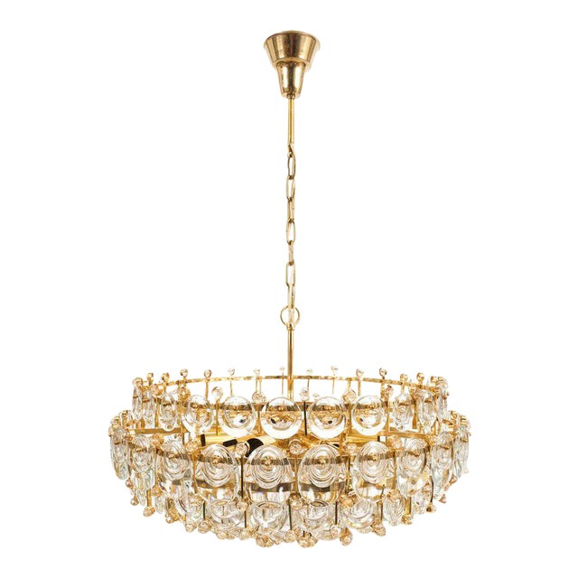 Exceptional Large Gilt Brass and Glass Chandelier Lamp, Palwa circa 1960 For Sale