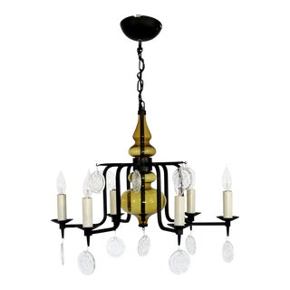 Mid Century Modern Wrought Iron Glass Chandelier Svend Aage Holm Sorenson 1950s