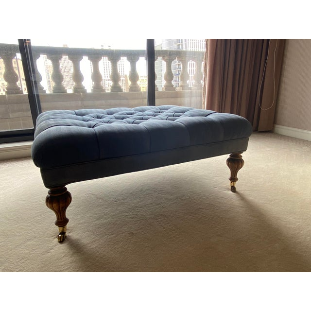 Vintage Periwinkle Blue Robert Allen Upholstery Ottoman For Sale - Image 10 of 12