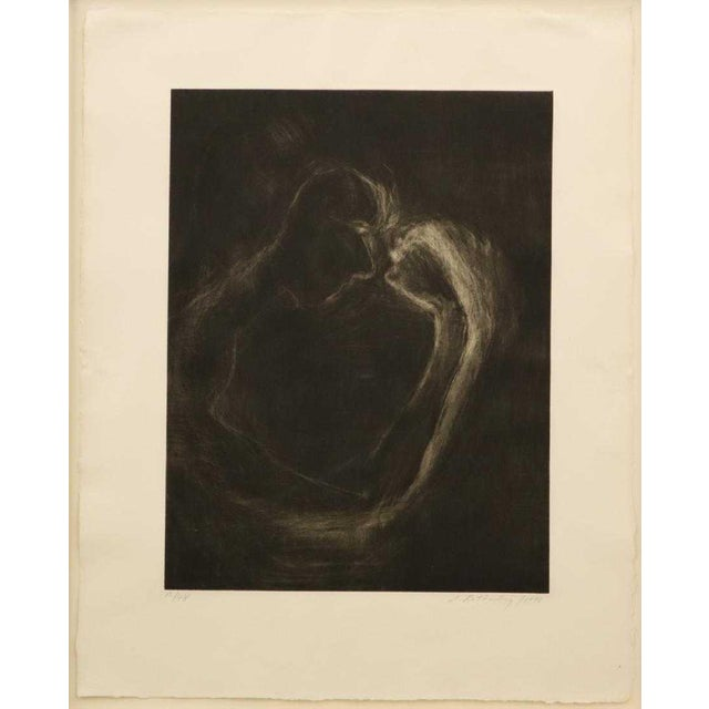 """Susan Rothenberg, American, b. 1945. Mezzotint on paper entitled """"Mezzofist #2"""", 15/48, 1990; published by Ulae. Numbered..."""