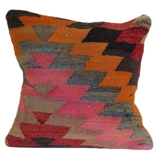 Vintage Turkish Kilim Pink Pillow For Sale